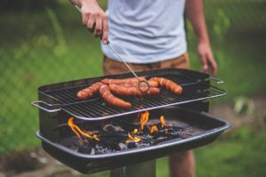 Man barbecuing outdoors