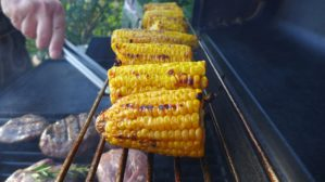 Corn cooking on the BBQ
