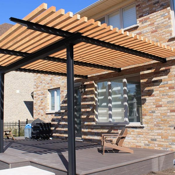 Customised steel and timber pergola