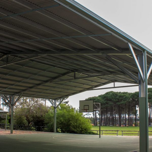 Shade Structure overlooking a basketball court