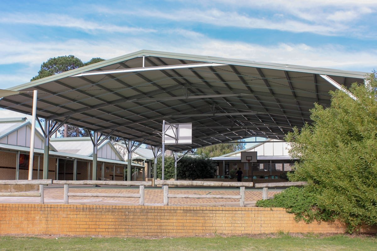Shade Structure covering basketball court - Outdoor World