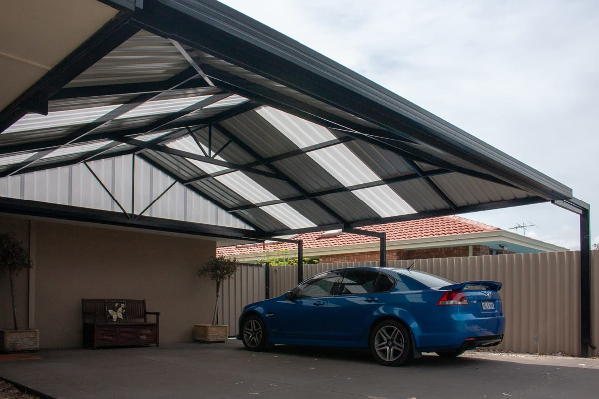 Perth: blue car in carport